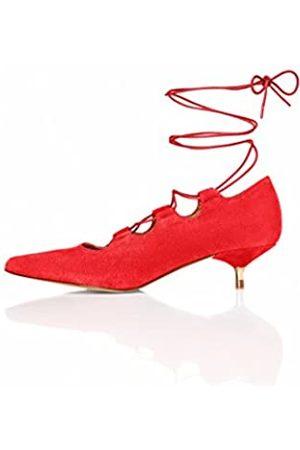 FIND Salones con Cordones Cruzados y Tacón 'Kitten' para Mujer, (Red)