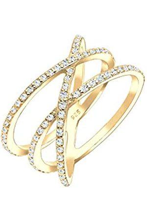 Elli 925 para mujer de plata de ley de circonita anillo-bañado en