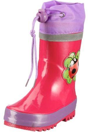 Playshoes Bota de Agua con Cordón Mariquitas, Botas de Goma de Caucho Natural para Niñas, (Pink 18)