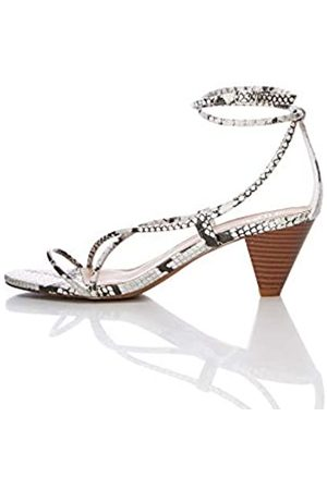 FIND Barely There Cone Heel Strappy Sandalias con Punta Abierta, Snake