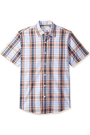 Amazon Camisa informal de popelín a cuadros de manga corta de corte recto para hombre