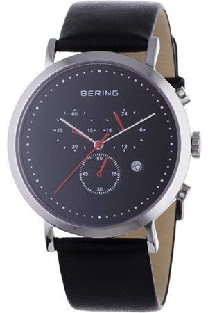 Bering Classic - Reloj cronógrafo de caballero de cuarzo con correa de piel negra - sumergible a 50 metros