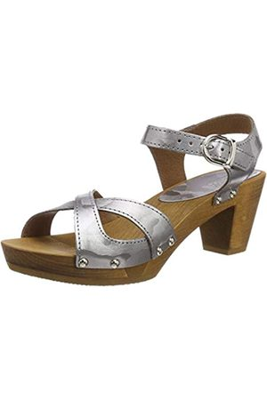 Sanita Erite Square Flex Sandal, Sandalia con Pulsera para Mujer, Silber (Pewter 20)