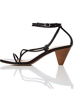 FIND Barely There Cone Heel Strappy Sandalias con Punta Abierta, Black