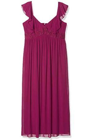 Little Mistress Nikki Mulberry Lace and Frill Maxi Dress Vestido Fiesta Mujer, Morado 001