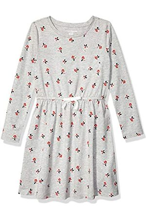 Amazon Girls' Long-Sleeve Elastic Waist T-Shirt Dress Playwear, Heather Grey Floral