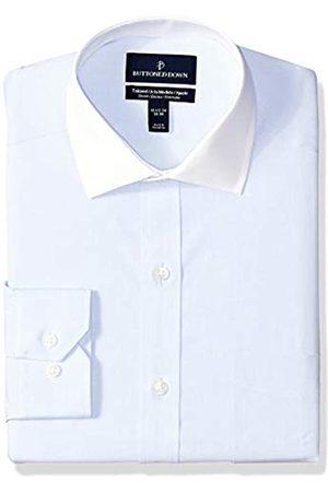 Buttoned Down Tailored-Fit Stretch Poplin Non-Iron Dress Shirt Shirts, Light Blue/White Collar