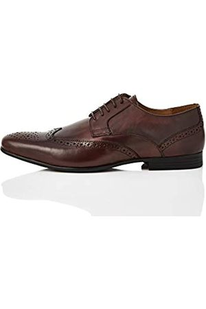 FIND Leather Zapatos de Cordones Brogue, Rot Burgundy