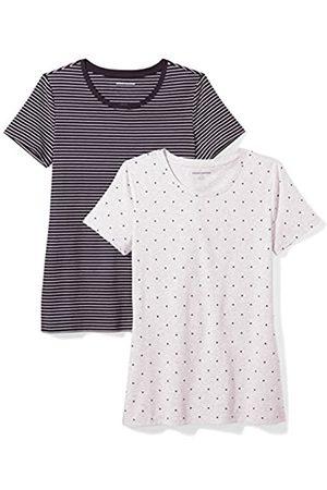 Amazon 2-Pack Short-Sleeve Crewneck Patterned T-Shirt Camiseta, Black Stripe/Heart Print