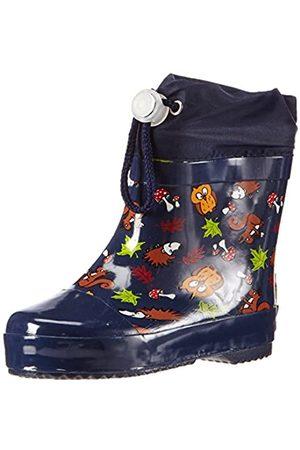 Playshoes Bota de Agua con Forro Animales, Botas de Goma de Caucho Natural Unisex Niños, (Marine 11)