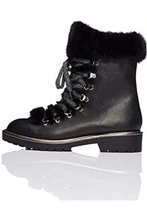 FIND Fur Lined Hiker Zapatos de Low Rise Senderismo, Black