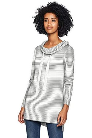 Daily Ritual Supersoft Terry Funnel-Neck Tunic Shirts, White-Black Skinny Stripe
