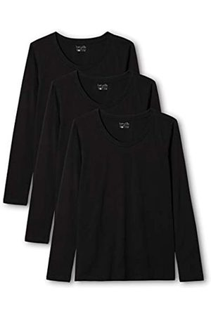 Berydale Camiseta de manga larga de mujer con cuello redondo, pack de 3