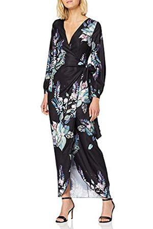Little Mistress Roxby Black Floral Long-Sleeve Maxi Dress Vestido Fiesta Mujer