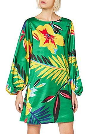 Liquorish Long Sleeve Mini Dress In Overscaled Green Floral Vestido