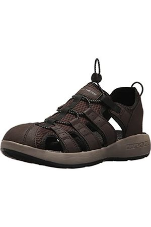 Skechers 51834', Sandalias de Punta Descubierta para Hombre, (Brown Leather/Mesh/Black Trim)