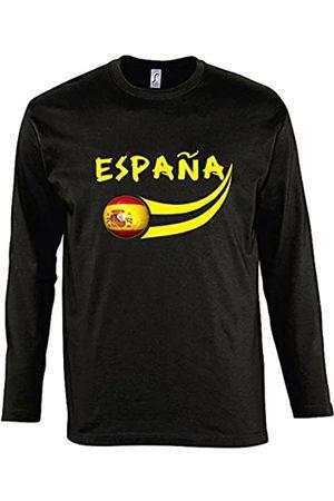 Supportershop – Manga Larga Camiseta LS Hombre España fútbol, T-Shirt Manches Longues Espagne Noir