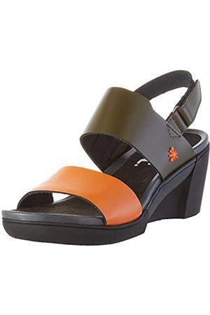 Art Rotterdam, Zapatos de tacón con Punta Abierta para Mujer, (Kaki/Orange Kaki/Orange)