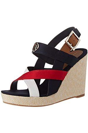 Tommy Hilfiger Basic Hardware High Wedge Sandal, Sandalias con Punta Abierta para Mujer, (RWB 0kp)