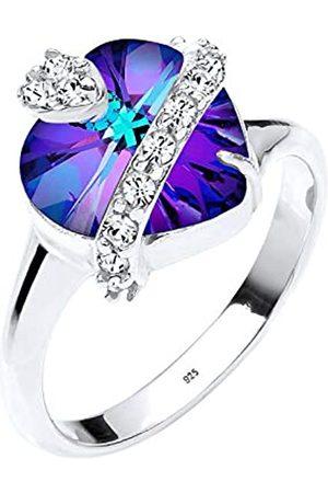 Elli Anillo para mujer con de ley (925/1000) y cristal corte brillante