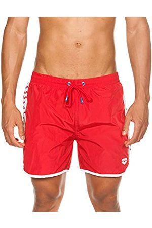 Arena Team Stripe Boxer Beach Short, Hombre, White-Red