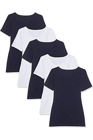 Maglev Essentials Damen T-Shirt Mit Rundem Ausschnitt, 5er-Pack Camiseta, Blau/Weiß), 46 (Talla del fabricante: XX-Large)