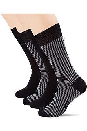 Hom Simon Socks 2p Calcetines de vestir, Lot de 2: noir + rayé noir et
