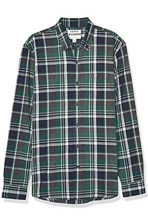 Goodthreads Standard-Fit Long-Sleeve Pattern Chambray Shirt Button-Down-Shirts, Green Grey Oversized Plaid