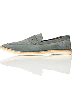 FIND Jute Sole Soft Leather Mocasines, Blue