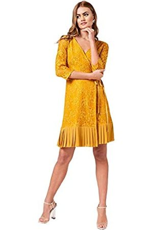 Little Mistress Penelope Spice Gold Lace Wrap Dress Vestido Fiesta Mujer, 001