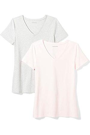 Amazon 2-Pack Short-Sleeve V-Neck Solid T-Shirt Camiseta, Pink/Light Grey Heather