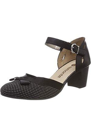 Remonte D0808, Zapatos con Tacon y Correa de Tobillo para Mujer, Weiß/Schwarz 02