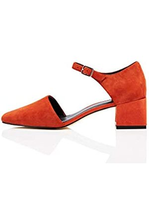 FIND Block Heel Two Part Suede Mary Jane, Red