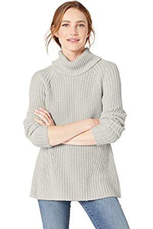 Goodthreads Cotton Half-Cardigan Stitch Turtleneck Sweater Sweaters, Claro