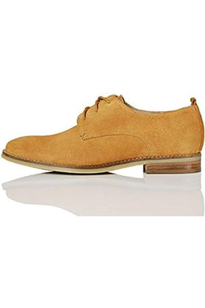 FIND Marca Amazon - FIND Leather Zapatos de Cordones Brogue, (Tan)