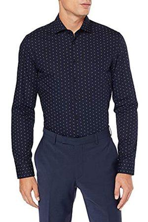 Seidensticker Slim Fit Langarm Mit Spread Kent-Kragen Bügelleicht Paisley-100% Baumwolle Camisa