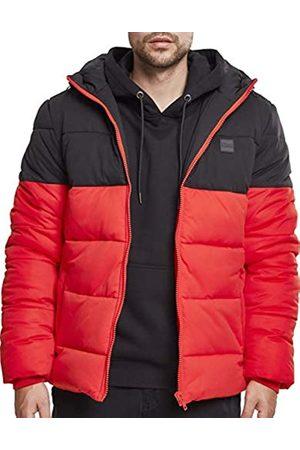 Urban classics Hooded 2-Tone Puffer Jacket, Chaqueta para Hombre, Rot (Firered/Blk 01440)