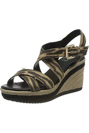 Geox D Ponza A, Sandalias con Plataforma para Mujer, (Black/Biscuit C9352)