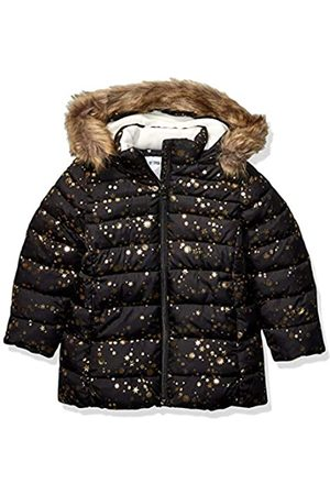 Spotted Zebra Long Puffer Coat Infant-and-Toddler-Down-Alternative-Outerwear-Coats, Black Gold Stars