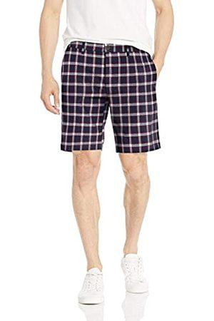 Goodthreads – Pantalón corto de lino elástico con tiro de 22,8 cm para hombre, Navy Red Check