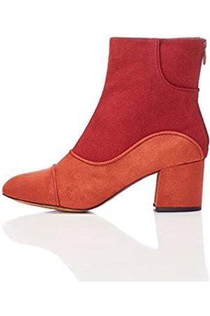 FIND Botines Años 60 Efecto Ante con Cremallera Mujer, (Rust/red)