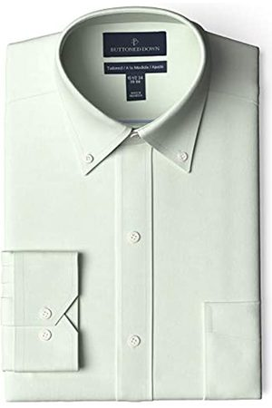 Buttoned Down Marca Amazon - Camisa de Vestir Ajustada con Cuello de Botones Pinpoint sin Planchar. dress-shirts
