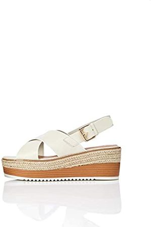 FIND Crossover Leather Platform Sandalias con Punta Abierta, Marfil Off White
