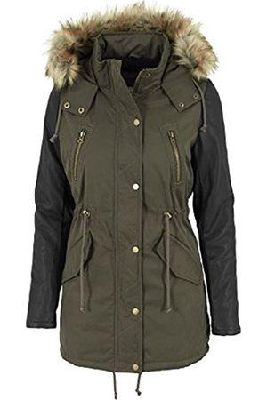 Urban classics Jacke Leather Imitation Sleeve Parka Chaqueta, Mujer
