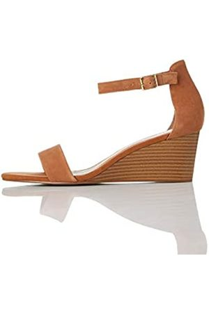 FIND Wedge Leather Sandalias con Punta Abierta, Tan