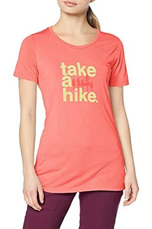 Columbia Mujer Camiseta, Outdoor Elements III Tee, Poliéster, (Coral Bloom/ Take a Hike), Talla: XS