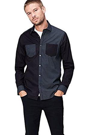 FIND Camisa Estampada con Paneles en Contraste para Hombre