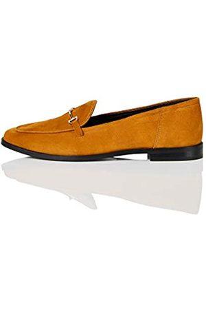 FIND Marca Amazon - Snaffle Leather Loafer Mocasines, Corona