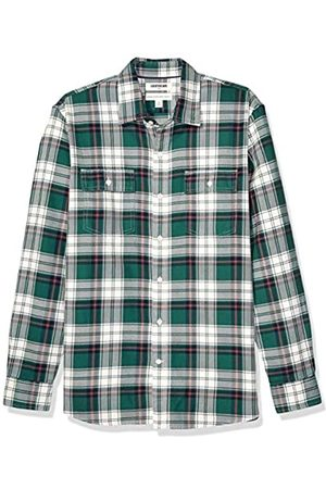 Goodthreads Standard-Fit Long-Sleeve Plaid Twill Shirt Button-Down-Shirts, Green White