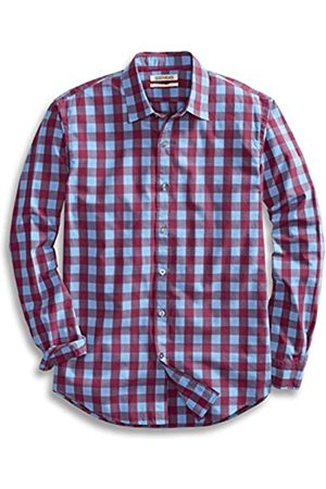 Goodthreads Regular-Fit Long-Sleeve Large-Scale Check Shirt camisa, Blue)